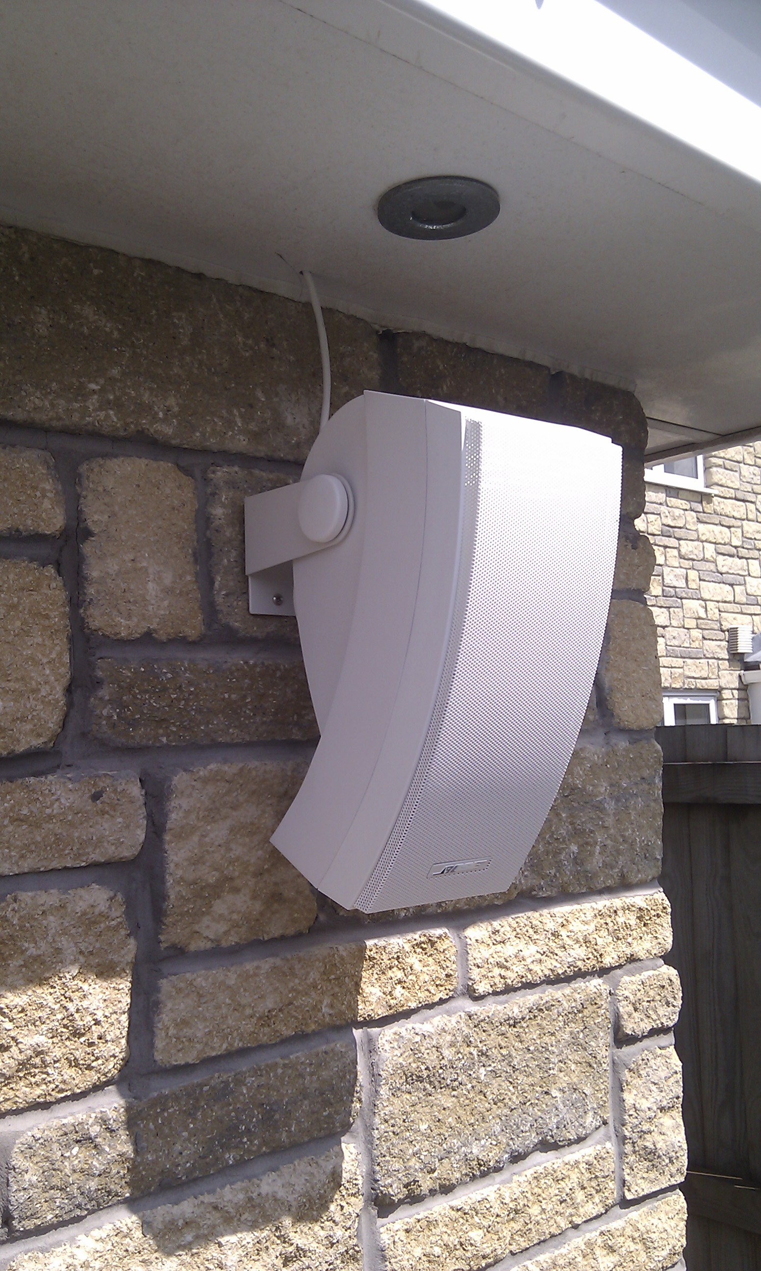 Outdoor speakers anderson installation for Installing in wall speakers on exterior wall